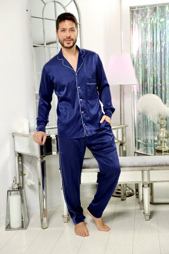 Midnight Blue Silk Pijamale